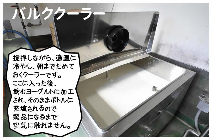 撹拌しながら、適温に冷やし、朝までためておくクーラーです。ここに入った後、飲むヨーグルトに加工され、そのままボトルに充填されるので製品になるまで空気に触れません。